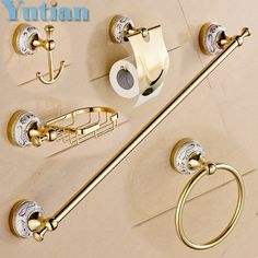 79.99$  Watch here - http://ali07u.worldwells.pw/go.php?t=32480200207 - Free shipping,Stainless Steel + ceramic Bathroom Accessories ,Paper Holder,Towel Bar,Soap basket,bathroom sets,YT-10200-5
