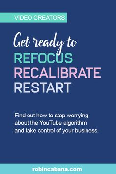 Video creators, are you ready to stop worrying about algorithms and take controls of your income? Join the Refocus Recalibrate Restart Challenge. Social Media Marketing, Digital Marketing, Marketing Ideas, Stop Worrying, Wordpress Plugins, Mood Quotes, Lessons Learned, The Creator, Join