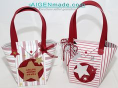 """Ein unglaublich heiß begehrtes Stampin'UP! Projekt zu Weihnachten waren unsere kleinen Handtaschen die als Geschenktstaschen für """"15 Minuten Weihnachten"""" umfunktioniert wurden."""
