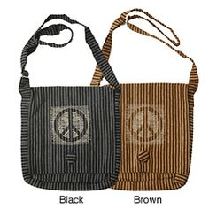 @Overstock - This beautiful bag will let you carry all your essentials with a unique style. Handcrafted of cotton, this striped messenger-style bag features a peace symbol and comes in two colors.  http://www.overstock.com/Worldstock-Fair-Trade/Cotton-Stripe-Peace-Messenger-Bag-Nepal/5868877/product.html?CID=214117 $22.09