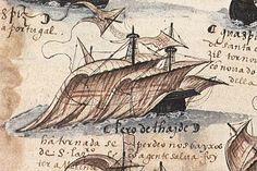 """Detail of Pero de Ataide's ship (Cabral Armada)  """"The history of the South African Post Office can be traced back over 500 years when the captain of a Portuguese ship, Petro D'Ataide, placed a letter in a milkwood tree at Mossel Bay in the 1500s."""""""