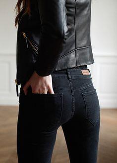 black leather jacket / black jeans