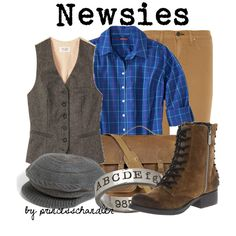 Designer Clothes, Shoes & Bags for Women Newsies Costume, Broadway Costumes, Girl Costumes, Homemade Halloween Costumes, Disney Halloween Costumes, Broadway Outfit, Disney Dress Up, Movie Inspired Outfits, Dress Up Boxes