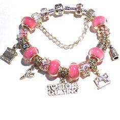 I Love Quilting   Charm Bracelet Pink Bracelet for her  She