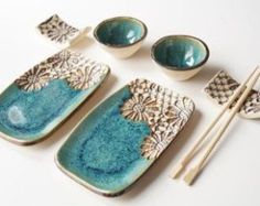White Sushi Set 6 Pieces Serving Set for 2 Sushi Dish Ceramic Tableware Serving Sushi Sushi Plate Ceramics and Pottery Home & Living Hand Built Pottery, Slab Pottery, Ceramic Pottery, Pottery Art, Thrown Pottery, Pottery Studio, Sushi Set, Sushi Sushi, Ceramic Tableware