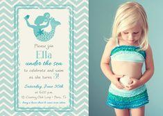 For Emery's mermaid party. Magical Mermaid Birthday Girl Photo Invitation by theteacookie, $15.00