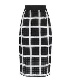 Milly Embroidered Check Midi Skirt