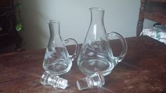Vintage etched cruets set of two by VintageMadge on Etsy
