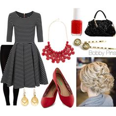 Black & Red with Bobby Pins