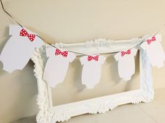 Baby Shower One-piece Bodysuit Banner, Bunting with Red Polka Dot Bow Tie on Etsy, $10.00 CAD