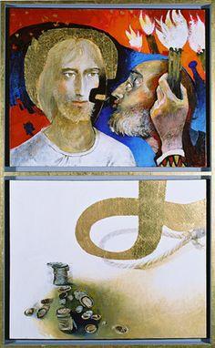 Arcabas 2003 Le Baiser de Judas / Les trente deniers. Políptico Passion-Résurrection. Montaigu, Belgique.