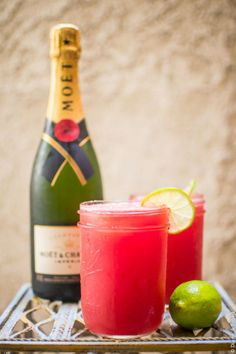 Make a watermelon agua fresca by blending chunks of watermelon to a pulp, and strain. Mix the remaining juice with lime and champagne.
