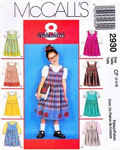 McCall's Sewing Pattern 2930 Girls' Size 6-8 Easy Jumper Button Front Blouse Applique