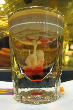Brain hemorrhage Shooter has an interesting sweet taste.And definitely goes right to your head. An excellent mixed drink for Halloween.