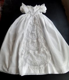 Lacy French Vintage Christening Gown This sweet and unusual Christening gown dates from about 1930 to 1940 I believe, but it is in a classic