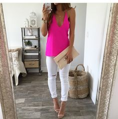 Hot pink tank, white jeans, nude heels