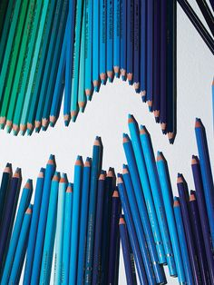 Colored pencil wave