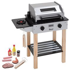 Howa - Barbecue Enfant Max avec Accessoires en Bois 4821 Ketchup, Outdoor Grill, Espresso Machine, Barbecue, Coffee Maker, Kitchen Appliances, Toy Kitchen, Toys, Outdoor Decor