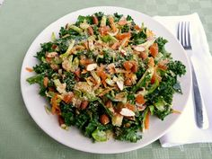Brussels sprouts salad with dried apricots, sliced almonds, and vinaigrette