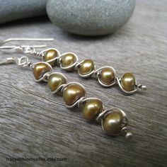 5 stacked wire wrapped pearl earrings by TCMjewelryDesigns on Etsy