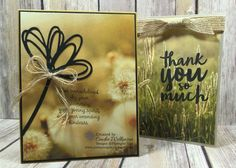 by Cindee: Thankful Thoughts, Serene Scenery dsp stack, Sunshine Wishes thinlits, Burlap Ribbon - all from Stampin' Up! Flower Stamp, Flower Cards, Hand Stamped Cards, Stampin Up Catalog, Stamping Up Cards, Get Well Cards, Sympathy Cards, Card Tags, Paper Decorations