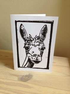 Alpaca linocut card by PrintsbyLucyPerry on Etsy