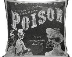 Vintage French Burlap Pillow Cover Halloween Chalkboard Poison Label Cotton Throw Pillow Cover HA-70 Elliott Heath Designs