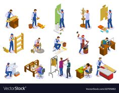 Buy Craftsman Work Isometric Set by macrovector on GraphicRiver. Craftsman isometric icons set with hand loom weaver carpenter sculptor tailor potter at work isolated vector illustra. Photoshop For Photographers, Photoshop Photography, People Photography, Photoshop Tips, Isometric Art, Isometric Design, Isometric Sketch, Banners, 257