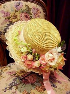 Pretty Straw Hat fashion vintage flowers hat old fashion straw hat accessories