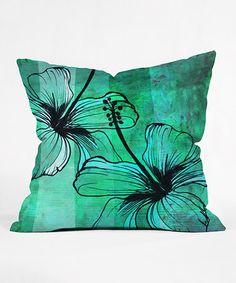 Another great find on #zulily! Aqua Floral Fleece Throw Pillow #zulilyfinds