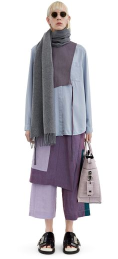 Acne Studios Canada Narrow Grey Melange Smaller fringed scarf
