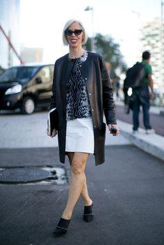 Linda Fargo looked ultrasleek in a collarless leather coat.