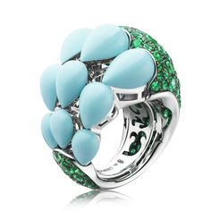 India collection ring with emeralds and turquoise drops by de Grisogono