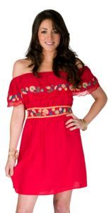 Flying Tomato Ladies Red Ruffle Top with Floral Embroidery Dress