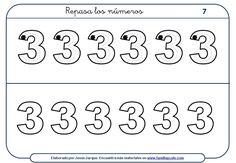 Ejercicios para escribir números para descargar e imprimir. Lote de 30 fichas gratuitas dedicadas al número 1, 2 y 3. Es la primera de tres entregas