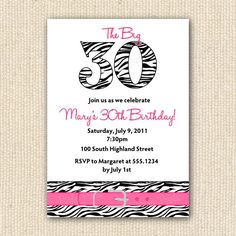 Zebra Print 30th Birthday Party Invitations