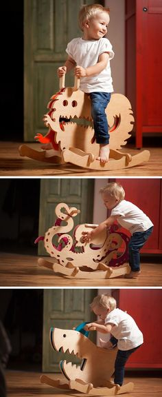 Designer Constantin Bolimond has replaced traditional rocking horses with a line of modern kids furniture that includes rocking monsters made from wood, in an attempt to help children over come their fears by making them a fun toy they can ride. - My Wood Kids Woodworking Projects, Diy Wood Projects, Teds Woodworking, Woodworking Furniture, Unique Woodworking, Woodworking Quotes, Design Projects, Woodworking Patterns, Woodworking Classes