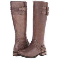 Type Z Esme Women's Zip Boots, Brown ($101) ❤ liked on Polyvore featuring shoes, boots, brown, knee-high boots, brown boots, real leather knee high boots, buckle boots, side zip boots and faux leather boots