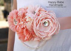 Peach Sash Baby Girl Sash Bridal Sash Baby by HappyBabeHandmade
