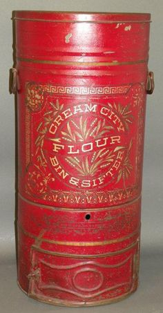 Store Bin; Cream City Flour, Tin Canister & Sifter, Stenciled, 1893 Patent, 28 inch, Original Red Paint