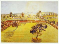 Walled Garden, Eric Ravilious vintage print 1983 ready mounted SUPERB