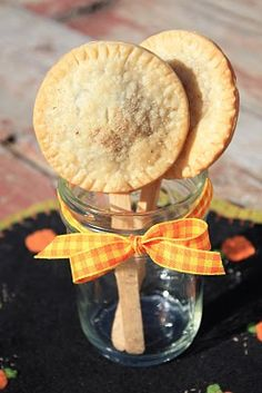 Pumpkin Pie Pops...how cute on the table for guests to eat on a stick if you're having a party OR wrap with small plastic candy bag wrappers & tie with a bow for individual treats
