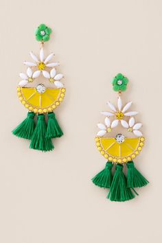 The Floral Lemon Slice Earrings features white flowers and green tassels. Bead Embroidery Tutorial, Beaded Embroidery, Lemon Print Dress, Lemon Art, Bead Earrings, Polymer Clay Jewelry, Lemon Slice, Floral, Crafts