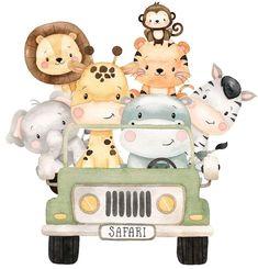 Safari Birthday Party, 1st Boy Birthday, Animal Birthday, Safari Animals, Baby Animals, Scrapbooking Image, Scrapbook Bebe, Baby Animal Drawings, Baby Posters