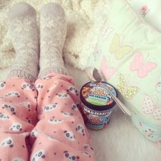 pj pants, warm socks and a pint of Ben & Jerry's....my kind of evening.