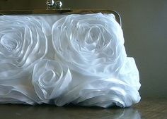 White Ribbon Rosette Purse Bag Wedding Clutch by by loliscreations, $56.00