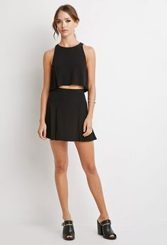 0fb2e22086 Forever 21 Crepe Crop Top And Skirt Set In Black Lyst Crop Top And Skirt Set