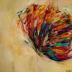 Impressionistic, vibrant playful. Extremely energetic with beautiful flecks of various colours.  A highly collectable painting by Victoria Horkan.