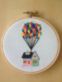 Up House with Balloons Cross Stitch Pattern Disney Pixar