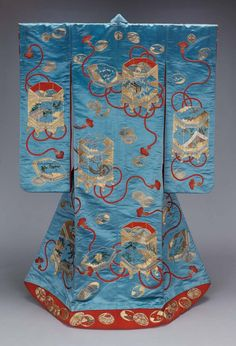 Mid-19th century Japanese uchikake (wedding over kimono). Embroidery on satin silk. The Museum of Fine Arts Boston